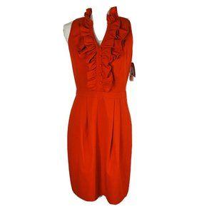 New Marc New York Dress Sz 6 Red Ruffle V Neck Ple